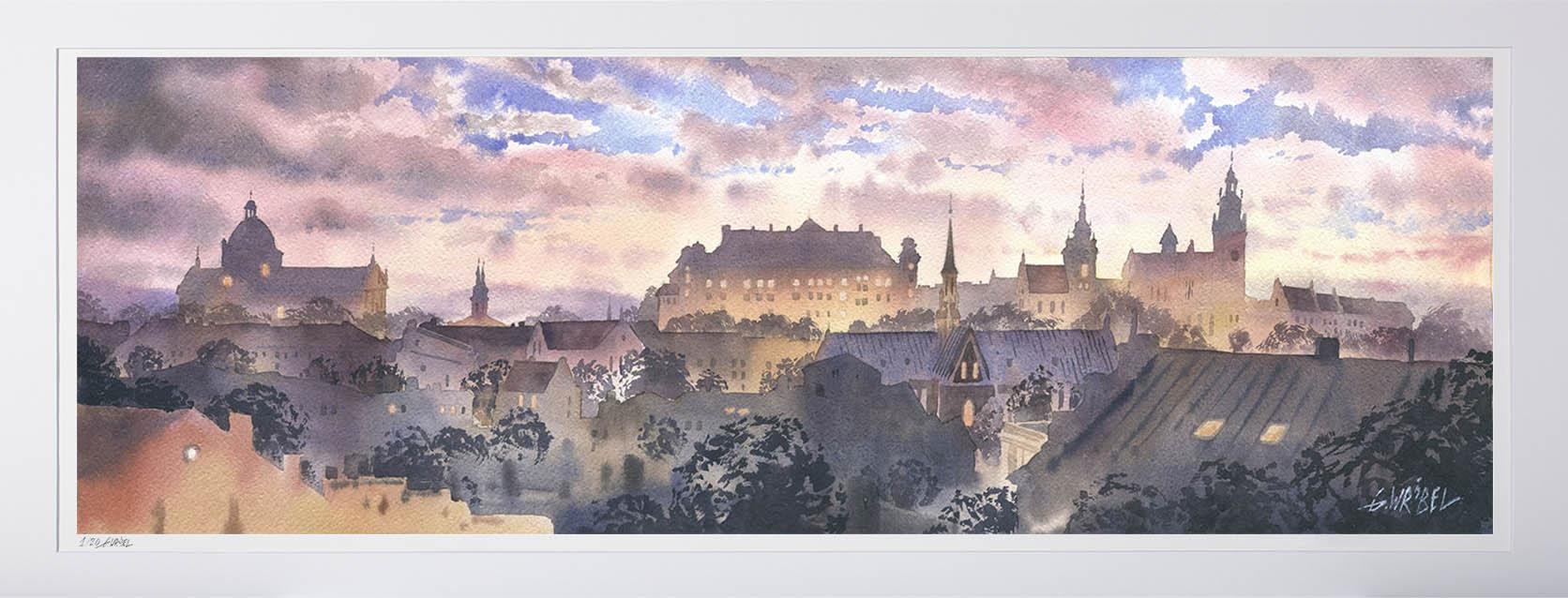 Grzegorz Wróbel - inkografia bez oprawy Kraków panorama