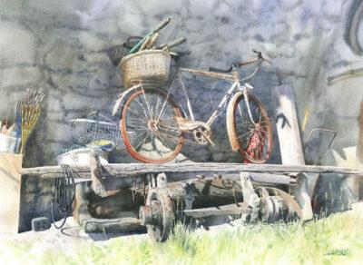 Rower z czerwonymi oponami