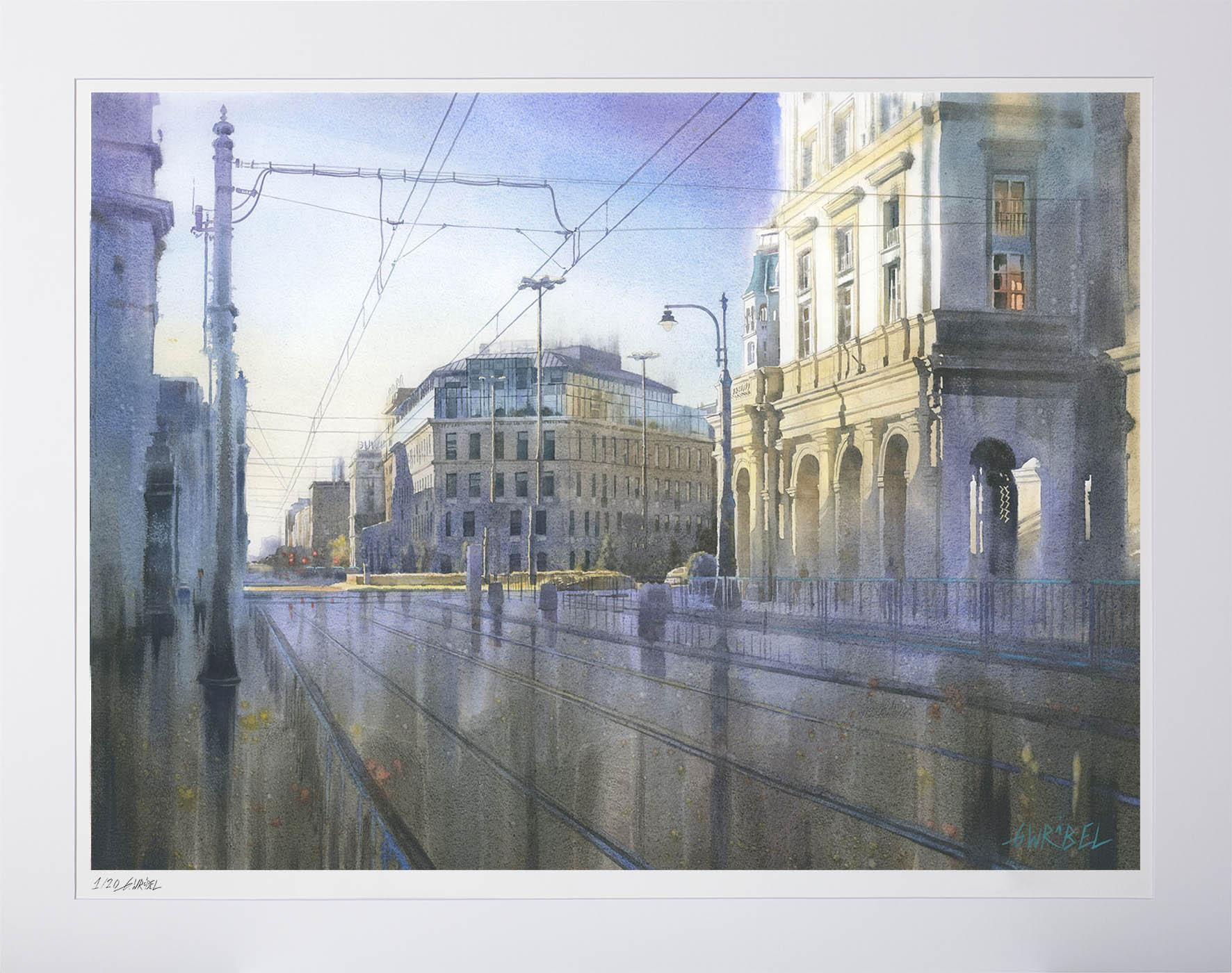 Grzegorz Wróbel - Zachodzące słońce na placu Zbawiciela