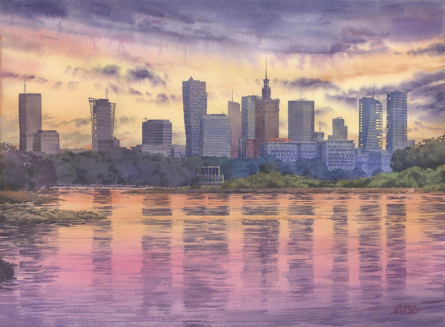 Grzegorz Wróbel - Panorama Warszawy o zachodzie